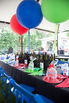 Party details from a PJ Masks Superhero Birthday Party via Kara's Party Ideas…