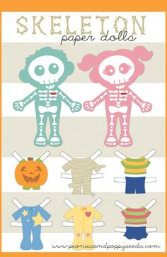 You can print these off and create fun little Halloween themed skeleton paper dolls. Giggle and squirm as you dress … Halloween Activities, Halloween Crafts, Holiday Crafts, Halloween Decorations, Paper Toys, Paper Crafts, Paper Puppets, Fun Crafts, Halloween Skeletons