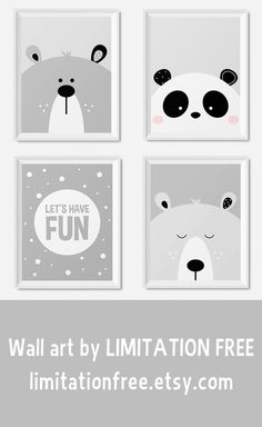 Modern kids and nursery wall art prints, Grey nursery prints, Bear and panda illustration, Neutral nursery decor, Playroom prints, Printable art for kids room and nursery by Limitation Free