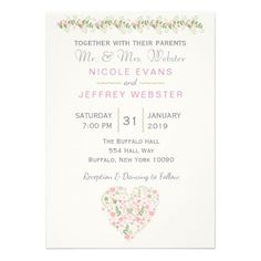 Spring Pink & Teal Flower Wedding Invitation - spring gifts beautiful diy spring time new year
