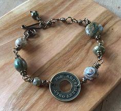 For Amusement Only Token Bracelet, Vintage token bracelet, Treasure Bracelet, Jasper, Sandstone, Tibetan Agate, Antique Brass by TwistofNatureJewelry on Etsy