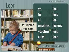 Spanish verbs - Present tense of LEER = To read Spanish Grammar, Spanish Vocabulary, Spanish Teacher, Spanish Classroom, Teaching Spanish, Spanish Language, Presente Simple, How To Speak Spanish, Learn Spanish
