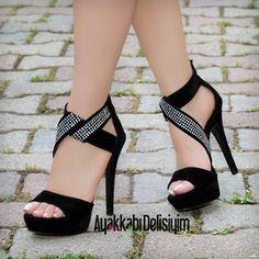 Taşlı Topuklu Ayakkabı #black #shoes