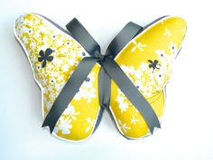 Items similar to Butterfly Pillow Yellow, White, Gray on Etsy Butterfly Pillow, Pillow Talk, Baby Room, Nursery Decor, Sunglasses Case, Pillows, Trending Outfits, Grey, Handmade Gifts