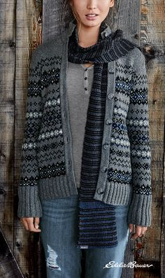 Women's Geo Jacquard Cardigan Sweater   The intricate, geometric patterns of the jacquard knit makes this cardigan sweater a stunning addition to your fall and winter wardrobe.
