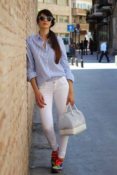 Sheinside White and Blue Vertical Stripes Blouse