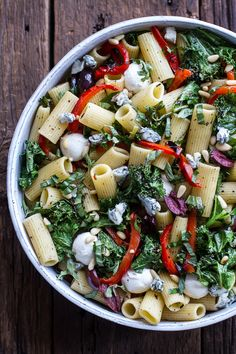 Simple Grilled Kale + Red Pepper Tuscan Pasta Salad | halfbakedharvest.com