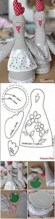 Picture for template idea Felt Crafts, Easter Crafts, Diy And Crafts, Doll Patterns, Sewing Patterns, Sewing Crafts, Sewing Projects, Chicken Pattern, Diy Y Manualidades
