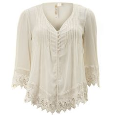 Adiva Ladies Cream Crochet Top ($26) found on Polyvore