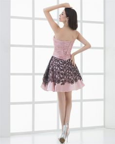 osell wholesale dropship Sweetheart Ruffle & Applique Sleeveless Thigh Length Lace Up Taffeta Cocktail Prom Dress $94.2