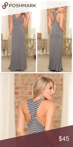Cross Back Maxi Charcoal colored cross maxi. Can you say hello summer!! Super soft and super cute. 96% Rayon 4% Spandex Infinity Raine Dresses Maxi