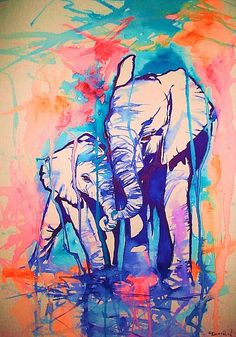 Elephant art painting in Watercolor. I love the use of the colors in this painting. Watercolor Elephant Tattoos, Art Watercolor, Tattoo Elephant, Elephant Love, Elephant Art, Elephant Design, Elephant Paintings, Abstract Paintings, Baby Elephants