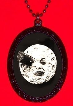 Man in the Moon Pendant Necklace Surreal Goth Silent Film Trip to the Moon Goth New. $7.00, via Etsy.