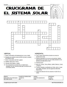 Crucigrama del Sistema Solar para Imprimir Gratis                                                                                                                                                     Más Science Fair, Science For Kids, Social Science, Science And Nature, Science Ideas, Earth Seasons, Neon Signs Home, English Writing, Spanish Lessons