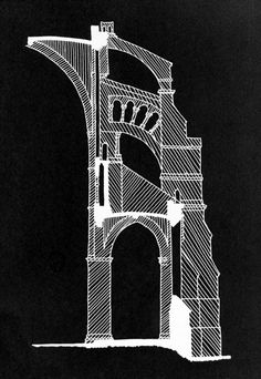 Chartres Cathedral cross section #architecture #cathedral