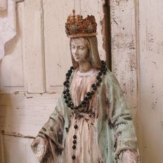 Virgin Mary statue very tall cement weathered paint Madonna French Nordic inspired handmade crown home decor anita spero