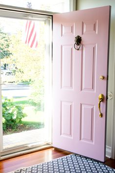 Painting Our Front Door With Farrow Ball Shining On Design Avec Pink Door Paint Nancysblushes Shiningondesign Et Keyword 28 Front Door Entrance, Exterior Front Doors, House Entrance, Front Door Decor, Exterior Paint, House Doors, Entry Doors, Exterior Design, Farrow Ball