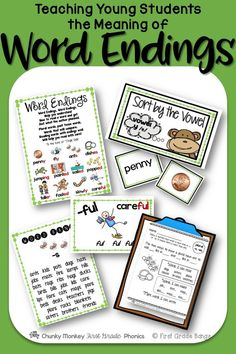 This unit covers common suffixes( -ly,-ful, -er, -est, -ing, and the three sounds of -ed), plural -s and -es, and vowel y at the end of a word. It has everything you need to teach word endings- from mini-lessons and word banks to independent work and literacy center activities. $