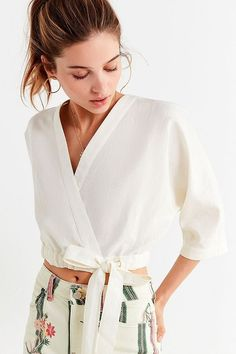 Shop UO Kimmy Wrap Cropped Top at Urban Outfitters today. We carry all the latest styles, colors and brands for you to choose from right here. Cropped Tops, Cropped Cardigan, Urban Outfits, Trendy Outfits, Cardigans For Women, Coats For Women, Urban Fashion Women, Womens Fashion, Boho Fashion Summer