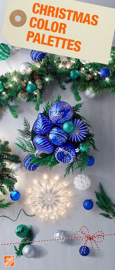 Spruce up your home for the holidays with cool tones and bring the outside in with your own version of a beautiful winter wonderland. Create a colorful and modern Christmas palette by using blue, green and silver decorations for a fresh and festive new lo Modern Christmas, Green Christmas, Christmas Colors, Christmas Tree Decorations, Christmas Tree Ornaments, Christmas Holidays, Country Christmas, Christmas 2017, Merry Christmas