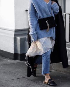 Layering street style! Edited the label knit, Gucci princetown loafer and YSL bag
