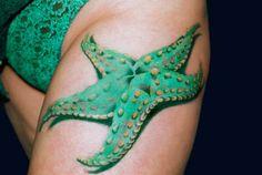 Green sea star starfish tattoo