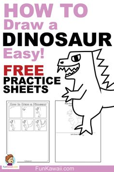 Drawing Doodle Easy Learn how to draw a Dinosaur easy and simple way! Video tutorial / Free printable practice sheets available. Let's Draw! Cool Drawings For Kids, Easy Doodles Drawings, Simple Doodles, Cute Doodles, Drawing For Kids, Simple Drawings, Easy Drawing Steps, Step By Step Drawing, Drawing Tips