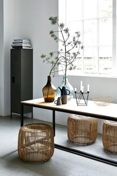 Awesome Modern stool rattan from House Doctor. Combine this stool with your favorite House Doctor furniture. House Doctor, Rattan Stool, Rattan Coffee Table, Mod Furniture, Vintage Furniture, Rattan Furniture, Cheap End Tables, Round Stool, Modern Stools