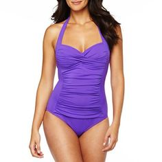 1e98a3957f3fb a.n.a. Inset Shirred Halter Swimsuit
