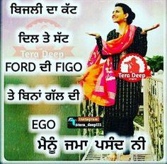 @manidrehar❤ Punjabi Attitude Quotes, Punjabi Quotes, Hindi Quotes, Quotations, Qoutes, Funky Quotes, Girly Quotes, Me Quotes, Laughing Colors