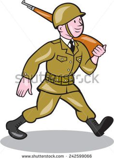 Illustration of a World War two American soldier serviceman marching with assault rifle viewed from side on isolated white background done in cartoon style. Assault Rifle, American Cartoons, Free Cartoons, American Soldiers, Veterans Day, Cartoon Styles, World War Two, Tigger, Retro Fashion