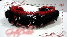 Victorian Goth Blood Red Choker Black Rose Sheer   by GothDollie, $24.99