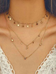 Cluster Necklace, Dainty Necklace, Gold Necklace, Pendant Necklace, Gold Bracelets, Lariat Necklace, Star Necklace, Layer Necklace, Simple Earrings