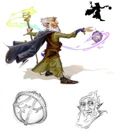Gnome (Rock)/Wizard (from the 5e Dungeons & Dragons Player's Handbook). Art by Rob Rey.