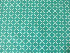 £9.50 per metre - STOF IRMA BLUE TEAL RETRO PRINT DRESSMAKING QUILTING PATCHWORK CURTAIN FABRIC