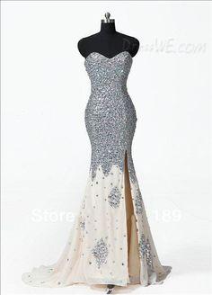 Dresswe.com SUPPLIES Luxurious Strapless Rhinestone Split Front Zipper-Up Column Prom Dress Prom Dresses 2014