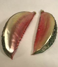 Glass Christmas Tree Ornament Radko Melon Slice Lot of 2 Pink Red Gold Fruit Glass Christmas Tree Ornaments, Christmas Balls, Feather Tree, Tree Decorations, Red Gold, Fruit, Pink, Ebay, Rose