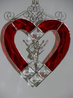Crucifix - stained glass red heart with bevels & wirework [Crucifix - red heart with bevels] - $45.00 : Glass Moose Cart, handcrafted glass, beads/supplies, jewelry, wood & metal art, signs