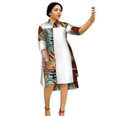 African women three-quarter sleeve knee length dress - All About African Dresses For Kids, African Fashion Ankara, Latest African Fashion Dresses, African Dresses For Women, African Print Dresses, African Print Fashion, Africa Fashion, African Attire, African Women Fashion