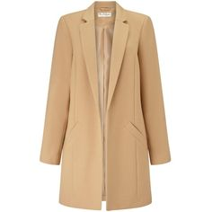 Miss Selfridge Camel Duster Coat (€94) ❤ liked on Polyvore featuring outerwear, coats, jackets, camel, lightweight coats, beige coat, miss selfridge, camel duster coat and camel coat