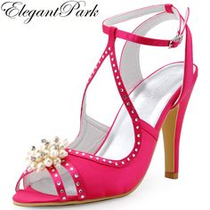 Summer Sandals Women Hot Pink pearls Ankle Strap High Heel Pumps Satin Bride Bridesmaid Wedding Bridal Party Shoes EP11058 Green #Affiliate