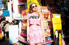 Ugly Crop Top & In the roses matching skirt   http://www.lazyoaf.com/lazy-oaf-ugly-t-shirt-2