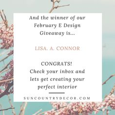 We're so excited! Congrats Lisa - we can't wait to get started on your E Design!