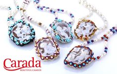 Necklace with shell Cameo, pearls and precious stones.  Handmade and made in Italy.
