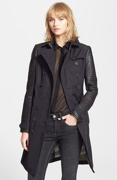 Burberry Brit 'Tinsbury' Leather Trim Double Breasted Trench Coat | Nordstrom