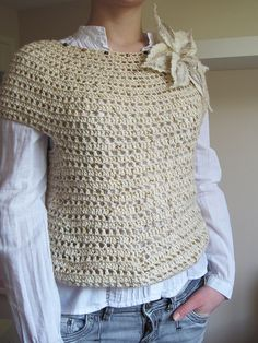 Crochet jumper found on Pinterest .  Can't find source but looks easy enough to copy...