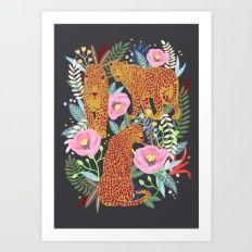 The leopard at night, leopard print, animal print Art Print