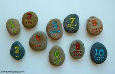 "Painted number rocks ("",)"
