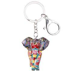 82d81a28ba8 Jungle Animal Elephant Unique Key Chain Outfit Accessories. Bonsny Enamel  Alloy Jungle Animal Elephant Key