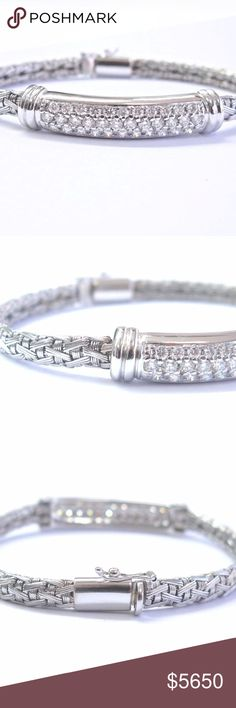 Roberto Coin 18k White Gold 2.00ct Round Diamond W Here is a Fine Roberto Coin Diamond Bar Bracelet. Made from Solid 18Kt White Gold and weighs 22 grams. It holds 2.00Ct of Natural Round Brilliant that are F Color VS Clarity. Bracelet is 7 inches long and 8.5mm across the center top. Bracelet is in Excellent Condition. Its hallmarked 1226VI, 18KT, ITALY. Roberto Coin Jewelry Bracelets